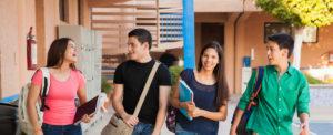 Students walking at school